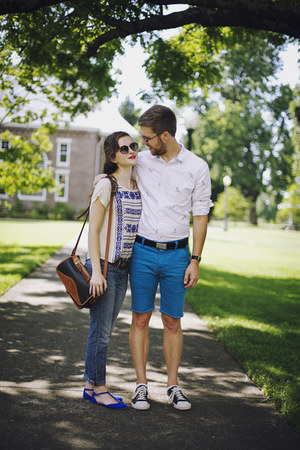 blue boyfriend Gap jeans - blue embroidered shirt