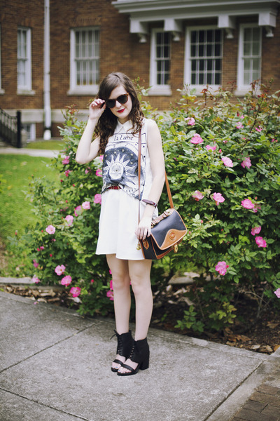 white moon motif Title Unknown t-shirt - white shirt TJ Maxx dress