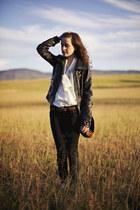 black faux leather Xhileration jacket - black skinny American Eagle jeans