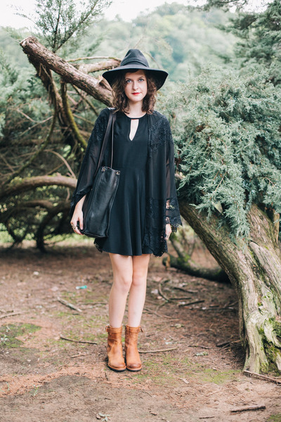 black little black Darling UK dress - bronze leather trask boots