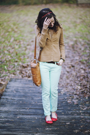 bronze leather purse - aquamarine skinny J Crew jeans