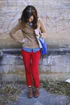 brown suede Bear Traps boots - red vintage Ralph Lauren jeans