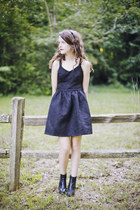black chelsea tba boots - black backless Dahlia UK dress