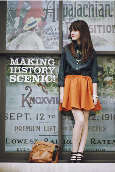 carrot orange circle Ya skirt - dark green plaid Tradlands shirt