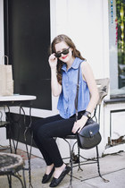 black high-waisted BDG jeans - sky blue denim American Apparel shirt
