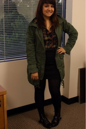 green Gap jacket - blue thrifted shirt - black H&amp;M skirt - black tights - black 