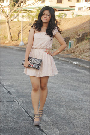 pink Zara dress - beige Mango shoes