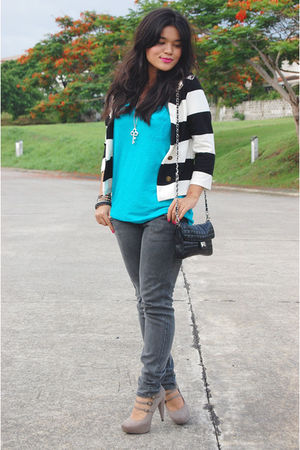 blue Victorias Secret shirt - black Mango jeans - black Topshop accessories - be
