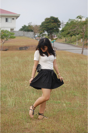 beige Lee top - black ESPADA skirt - black Zara - black Topshop