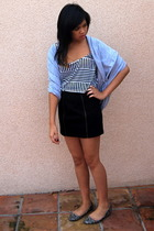 black H&M skirt - white American Apparel top - blue American Apparel scarf - gra