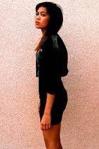 black Forever21 blazer - black H&M skirt - gray Forever 21 top - beige Steve Mad