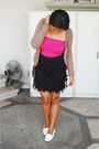 Black-custom-made-skirt-white-shoebox-shoes-pink-miss-selfridges-top-brown