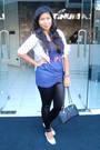Blue-sinequanone-dress-black-topshop-leggings