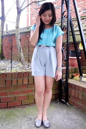 silver Alexander Wang shorts - light blue Jason Wu for Target blouse