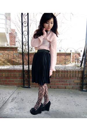 black suede Steve Madden wedges - light pink ruffled Jason Wu for Target blouse