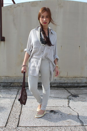 Topshop purse - cotton on pants - Ralph Lauren top - metallic Yosi Samra flats