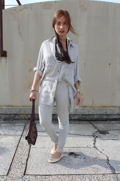 Topshop purse - cotton on pants - Ralph Lauren top - metallic Yosi Samra flats