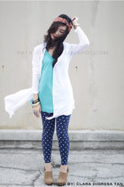 navy leggings - turquoise blue Topshop top - white Forever 21 top - beige Foreve