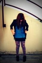 blazer - t-shirt - necklace - leggings - boots