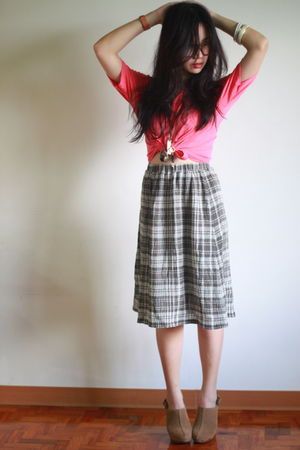 pink Never Forget Clothing top - green thrifted skirt - beige Forever21