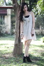 Beige-dress-black-forever-21-boots-gold-aldo-accessories