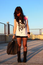 white shirt - black skirt - black stockings - black boots - silver accessories -