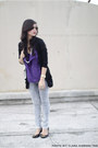 Black-forever-21-cardigan-deep-purple-forever-21-top-black-tory-burch-flats