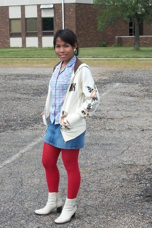 red leggings - off-white boots - blue checkered top - printed hoodie