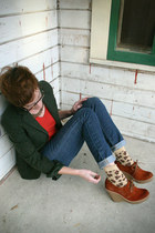 dark green Theory blazer - brown Jeffrey CampbellModCloth shoes - gold Kendra Sc