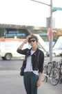 Black-leather-topshop-jacket-teal-coated-leather-j-brand-pants