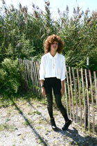 white vintage blouse - black H&M leggings - black Top Shop shoes