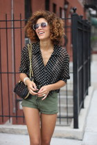 olive green my Pet sQuare shorts - black vintage blouse