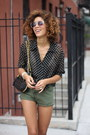 Olive-green-my-pet-square-shorts-black-vintage-blouse