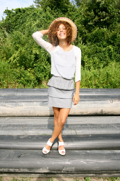 blue Rory Beca top - silver Rory Beca skirt - white H&M shoes