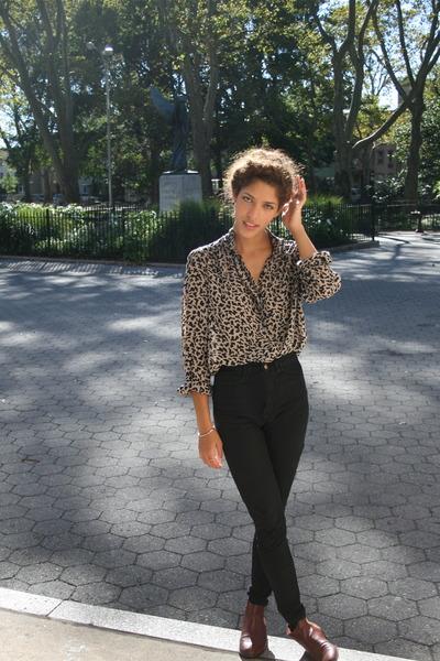 Brown Vintage Tops, Black American Apparel Pants, Brown Marias USA ...