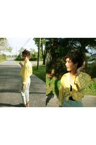 yellow Perry Ellis top - green American Apparel pants - black