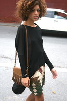 black Urban Outfitters top - katherine Kwei bag - brown vintage skirt