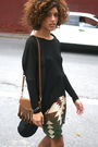 Black-urban-outfitters-top-brown-vintage-skirt-katherine-kwei-bag