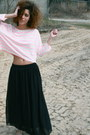 Light-pink-brandy-melville-top-black-american-apparel-skirt
