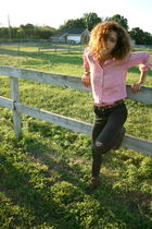 red J Crew top - black Les Halles jeans - brown Matt Bernson boots
