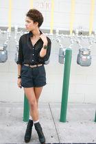 blue American Apparel shorts - black nayla shoes - black American Apparela top
