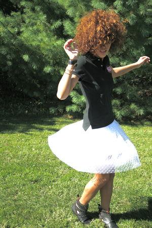 black Ralph Lauren shirt - white wren skirt