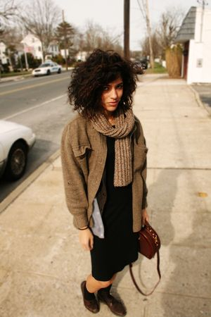 brown Celine coat - black American Apparel dress - brown easy spirts shoes - bro