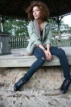 green rip curl jacket - blue Les halles jeans jeans - black Top Shop shoes