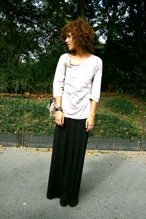 purple James Perse top - black H&M skirt