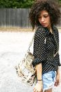 Black-vintage-blouse-blue-levis-shorts-gold-coach-accessories-gold-coach-a