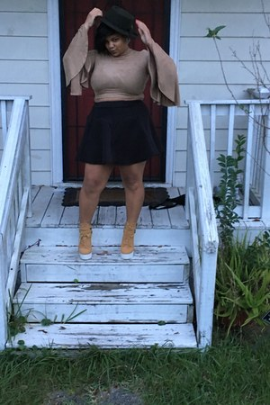 light orange shoes - dark green Forever 21 hat - tan shirt - black skirt