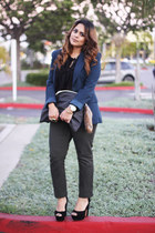 teal Forever 21 blazer - Steve Madden shoes - American Apparel bag