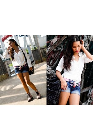 denim shorts Pull and Bear shorts - floral print boots - scarf - Zara bag