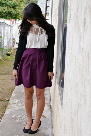 made by me skirt - H&M cardigan - papaya top - H&M heels